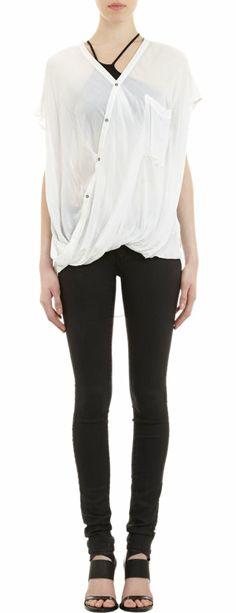 Helmut Lang Cap-Sleeve Drape Top at Barneys.com