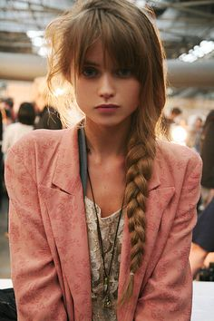 Bangs and braid.