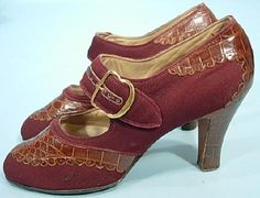 c. 1935 ANDREW GELLER, New York Bordeaux Serge Fabric Shoes Trimmed in Alligator