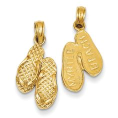 14K Yellow Gold Reversible 3-D Myrtle Beach Sandal Flip-Flops Charm Pendant. Reversible 3-D Myrtle Beach Sandal Flip-Flops Charm Pendant Crfted From polished 14K Yellow Gold. Finish: Polished. Approximate Weight: 1.14 Grams. 14K Yellow Gold. Length: 23 Millimeters Including Bale.