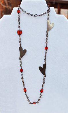 Long Copper and Orange Heart Necklace