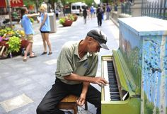 "DENVER POST - Art pianos return to 16th Street Mall in Denver. The ""Your Keys to the City"" program places 10 pianos along the sidewalks of the downtown Denver mall for public use until Sept. 30.  Piano players, or anyone really, can use the instruments during the day"