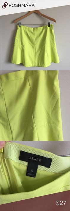 "J. Crew Neon Yellow Fluted Skirt Size 10 J. Crew Neon Yellow Fluted Skirt. Back zipper closure. Excellent condition. Material is 75% polyester, 20% viscose, 5% spandex. When laid flat, waist measures 16"" across and from top to bottom measures 17"". J. Crew Skirts"