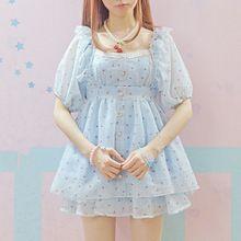 Pink & Blue sommer Niedliche Prinzessin mini kleid Girly Mädchen kleidung Kräuselte gefaltete Shirt Verband Bogen Chiffon Hemd Mori Mädchen Kleider(China (Mainland))