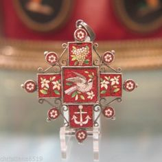 Antique Roman Micro Mosaic cross pendant set in silver,19th century
