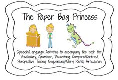 Blog post describing lesson Plan activities for a month using the Paper Bag Princess $ with {FREEBIE} Describing activity