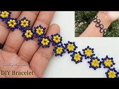 Diy Jewellery Designs, Bead Jewellery, Diy Jewelry, Jewelry Design, Beading Tutorials, Beading Patterns, Crochet Patterns, Beaded Bracelets Tutorial, Beaded Ornaments