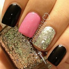 pink, silver glitter, and black nails. how about this with red, black and glitter #Blackhawks @Emmeretta Russey