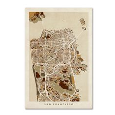 San Francisco City Street Map by Michael Tompsett Graphic Art on Wrapped Canvas