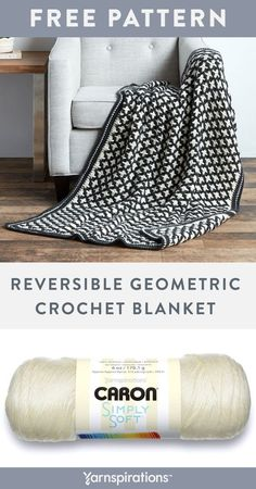 Free crochet pattern using Caron Simply Soft and Caron Simply Soft Heathers yarns. This bold crochet blanket adds visual interest to any space and is a a welcoming blanket the whole family will love! Crochet Home, Knit Or Crochet, Cute Crochet, Crochet Crafts, Easy Crochet, Crochet Mandala, Crochet Slippers, Double Crochet, Crochet Projects