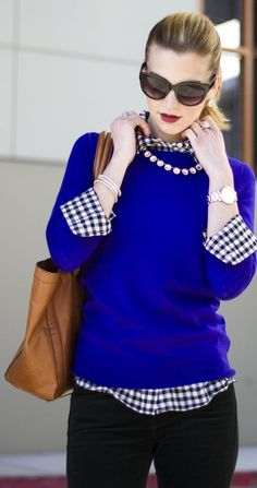 J. Crew Black and White Gingham and Blue Sweater///  WHY, when I try the layered-look, do I look like a beached whale??  How freakin' skinny do you have to be to rock this look??