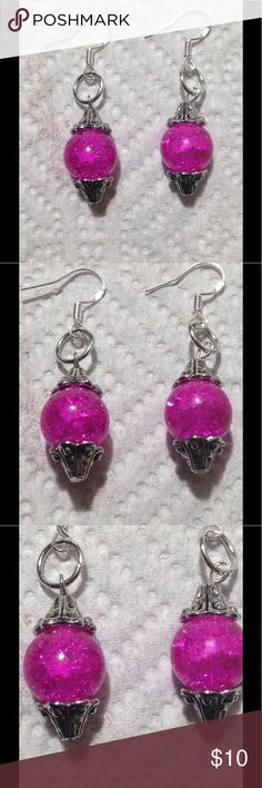 Pink Sparkly Glass Dangle Earrings These pretty earrings are made with sparkling pink glass beads and silver plated hooks. They are great for sensitive ears. All PeaceFrog jewelry items are made by me! Take a look through my boutique for coordinating jewelry and more unique creations. PeaceFrog Jewelry Earrings