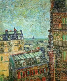 "Vincent van Gogh (Dutch, Post-Impressionism, 1853-1890): View of Paris from Vincent's Room in the Rue Lepic, 1887. Oil on canvas. Van Gogh Museum, Amsterdam, Netherlands. ""And mind my dear fellow, that Paris is Paris, there is but one Paris and however hard living may be here and if it becomes worse and harder even — the French air clears up the brain and does one good — a world of good.""  (Vincent van Gogh, letter to artist Horace Mann Livens, Fall 1886 —shortly after arrival in Paris)."