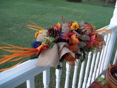Fall~ Thanksgiving~Centerpiece~Swag~Bow~Mesh~~Leaves~Gourds~Flowers~Burlap