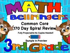 170 Days of Common Core Spiral Math Review for 3rd Grade-No Copies Needed!