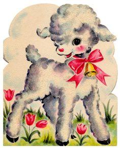 vintage easter card - cute little lamb - Wendy Schultz - Printables. Vintage Valentine Cards, Vintage Greeting Cards, Vintage Holiday, Vintage Postcards, Retro Christmas, Christmas Greetings, Vintage Clip Art, Vintage Images, Easter Images Clip Art