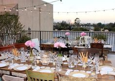 Rooftop Food & Wine Pairing Party - elaborate setting, simple foods.  Love the simple/easy table setting, having champagne set out as guests arrive, blankets to keep warm.