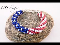 American flag beaded kumihimo bracelet - YouTube An excellent tutorial on how to set up the beads to achieve her exquisite design.