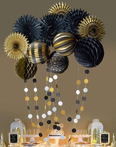 Black Gold Pinwheel Fan Lantern Honeycomb Ball Party Decoration Pack kit - You are in the right place about party decoracin Here we offer you the most beautiful pictures abo - Black And Gold Party Decorations, Birthday Decorations For Men, Ball Decorations, Decoration Table, Party Decoration Ideas, 1920s Party Decorations, Honeycomb Decorations, Party Ideas, Decor Ideas