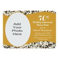 Black Swirl & Golden Wedding Anniversary Photo Invitation | Zazzle.com Golden Anniversary Gifts, Wedding Anniversary Photos, Photo Invitations, Custom Invitations, Mary Johnson, Rsvp, Party, Modern, Black