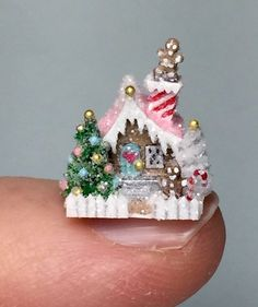 OOAK Handcrafted Miniature Putz House Christmas Glitter Cottage by Woodfirequeen… Christmas Gingerbread House, Miniature Christmas, Christmas Minis, Christmas Home, Vintage Christmas, Christmas Bulbs, Christmas Crafts, Christmas Decorations, Christmas Glitter