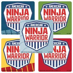 25 American Ninja Warrior Stickers, x each. You receive 5 of each of 5 sticker designs, total Great for crafts and parties. These are NON-personalized stickers. NO personalization can be added, as they are licensed and pre-printed. America Ninja Warrior, Ninja Warrior Course, Ninja Birthday Parties, Birthday Party Favors, 7th Birthday, Birthday Ideas, Gymnastics Party, Ninjago Party, Teacher Supplies