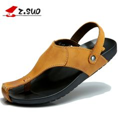 359e31f02a8ba9 Z. Suo Brand male shoes men s casual Sandals Full Grain Leather Men Summer  Shoes Casual Outdoor Shoes Zapatillas Beach Sandals-in Men s Sandals from  Shoes ...