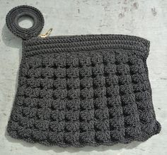 30s Black Crochet Purse  Small  Crocheted Finger. Popcorn stitch continued into the 40's, many patterns available.  by AngelGrace, $14.99