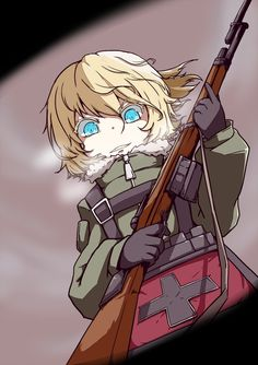 youjo senki tanya degurechaff high resolution belt blonde blue eyes female gloves gun holding weapon looking at viewer machinery medium hair military military uniform ponytail rifle smile solo tied hair uniform weapon Evil Anime, Anime Manga, Anime Films, Anime Characters, Tanya Degurechaff, Tanya The Evil, Anime Military, Best Waifu, Manga Games