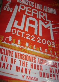 Pearl Jam Poster 70x100cm - $ 141,00 en Mercado Libre