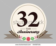 32 years anniversary logo with oval shape, flower and ribbon. anniversary logo for wedding, birthday, celebration and party