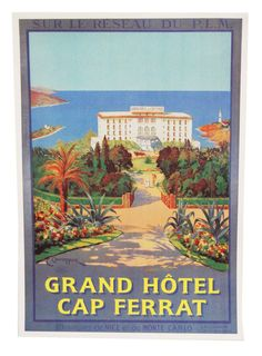 Vintage French Riviera Travel Poster - art deco decor