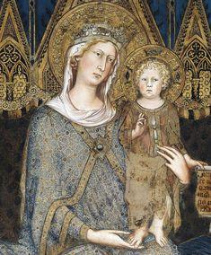 """Simone Martini, Maesta (""""majesty""""), 1315.  Madonna and child. From the Palazzo Pubblico, Siena"""