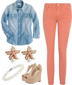 """""""Spring Day Chambray Outfit"""" by elizabethandre ❤ liked on Polyvore"""