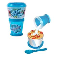 Cereal on the Go Cup - Take your cereal and milk with you. $5.99 #cereal