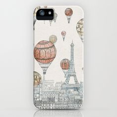 I just bought this case! And there are so many awesome things on this website!! Voyages Over Paris iPhone Case by David Fleck - $35.00 www.society6.com
