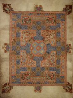 Lindisfarne Gospels St Mark Cross-Carpet-page. These pages of ornamentation have motifs familiar from metalwork and jewellery that pair alongside bird and animal decoration.