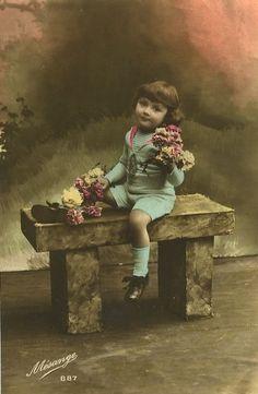 C 1920 Very Cute Little Kid w Flowers Children Child Tinted Photo Postcard | eBay