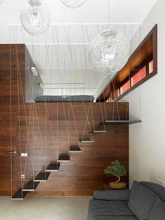 Treppenhaus-Geländer mit Fäden-Innenarchitektur vermittelt Leichtigkeit