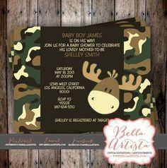 Camouflage Moose Invitations, Camoflauge Baby Shower Invitation, Boys