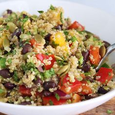 This healthy mango black bean quinoa salad with avocado will be your favorite easy lunch or summer salad to bring to parties. Dressed with a yummy honey chipotle lime dressing for vibrant, bright flavor. Healthy Salad Recipes, Whole Food Recipes, Diet Recipes, Healthy Snacks, Cooking Recipes, Quinoa Salad Recipes Cold, Health Food Recipes, Vegetarian Recipes Videos, Vegetarian Food