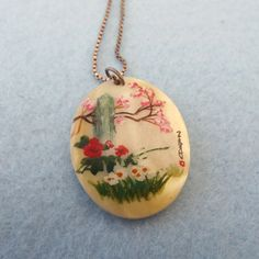 Handpainted Asian Mother Of Pearl Pendant Necklace!