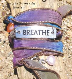 """FEEL YOUR BREATH ... GORGEOUS HAND DYED SILK RIBBON WRAP BRACELET WITH """" BREATH """" FOCAL & HEALING GEMSTONES"""
