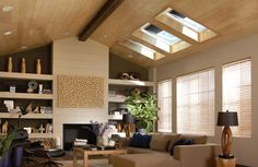Living room with VELUX Solar Powered Fresh Air Skylights Living Room Trends, Living Room Inspiration, Roof Window, Transitional Living Rooms, Interior Design Magazine, Patio, Interior And Exterior, Family Room, Family Life