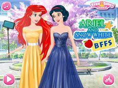 Zadbaj o wygląd dwóch najlepszych przyjaciółek. Ariel i Królewna Śnieżka wybierają się na wspólny spacer do centrum miasta!  http://www.ubieranki.eu/ubieranki/10153/ariel-i-sniezka-_-bff.html