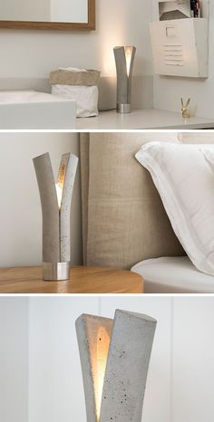 This Modern Concrete Table Lamp Looks Like It's Been Split In Two