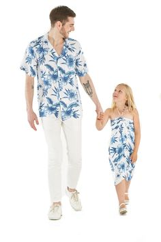 574124758b7e Father Daughter Matching Men Shirt and Girl Butterfly Dress in Day Dream  Bloom
