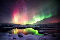 I'm pretty sure nothing beats Aurora Borealis over Jokulsarlon lagoon!  #travel #NorthernLights #Iceland