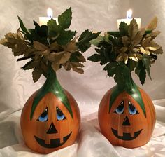 Wine glasses painted as Halloween candle holders this would be perfect painted on small bowls add a piece of hardware cloth. Make melts or barley pops with extra long stems.