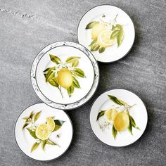 Williams-Sonoma Williams Sonoma Meyer Lemon Salad Plates, Mixed Set of 4 Cow Kitchen Decor, Lemon Kitchen Decor, Yellow Kitchen Decor, Kitchen Cabinets Decor, Kitchen Shop, Cool Kitchen Gadgets, Cool Kitchens, Dinner Plate Sets, Dinner Plates